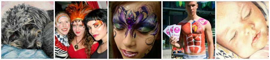 JuliaArts face painting Organ Donation Body Painting and Colour Pencil Portraits