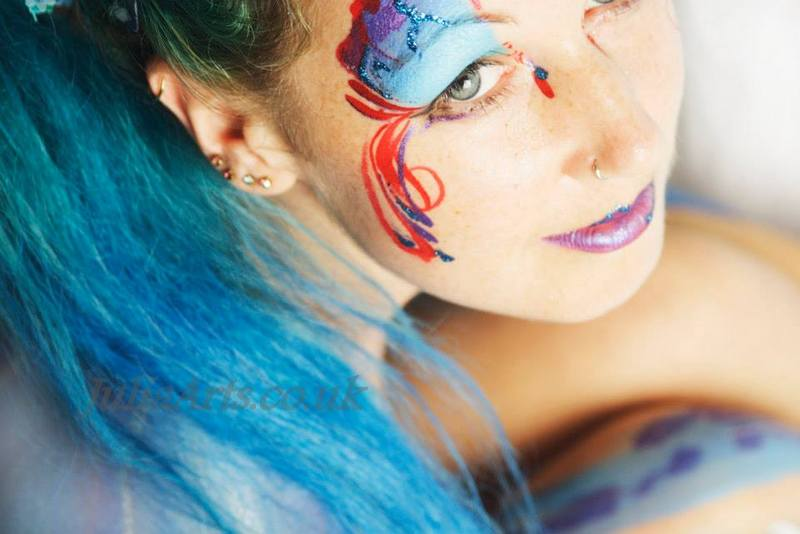 Little Blue Dragon Body Paint Photo Shoot by JuliaArts South Yorkshire for Breast Cancer Awareness photographer Jodi Hall