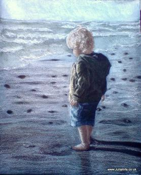 Toddler on beach portrait by JuliaArts Barnsley